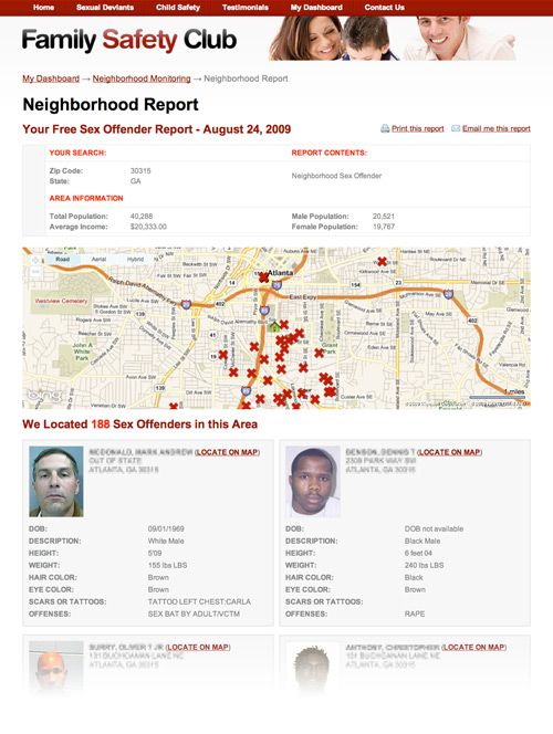 locating sex offender in my area